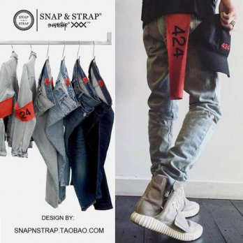 [globalbuy] Global agency TYGA with 424 black jeans washing water based high street hip-ho/4203722