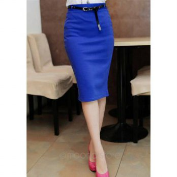 [globalbuy] Hot Summer Women Lady Office Candy Color Elastic Pencil High Waist Over Hip Bo/4198058