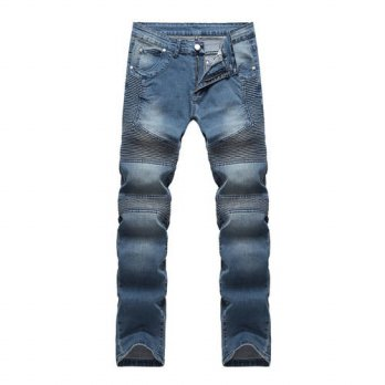 [globalbuy] 2016 Mens Ripped Biker Jeans Homme Mens Fashion Motorcycle Slim Fit Moto Denim/4203667