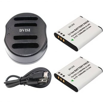 [globalbuy] 2pcs Li-50B Li 50B Li50B D-Li92 Rechargeable camera Batteries and USB Dual Cha/3688437