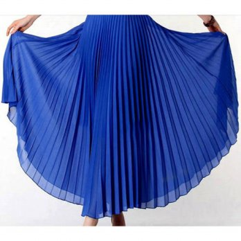 [globalbuy] Anasunmoon Spring Bohemian Pleated Maxi Skirts Womens Summer Solid Color High /4197995