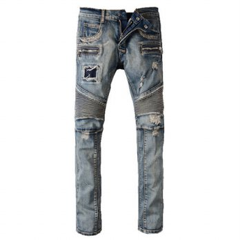 [globalbuy] Mens fashion vintage zipper patch hole ripped biker jeans Slim straight stretc/4203615