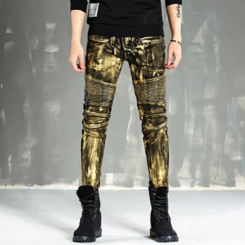 [globalbuy] Mens Biker Jeans Casual Classical Male Gold Silver Denim Pants Heavy Metal Jea/4203599