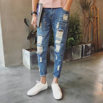 [globalbuy] Jeans Men Patchwork Designer Brands High Quality Patched Jeans Ripped Men Rock/4203637