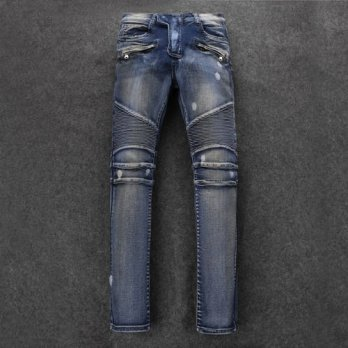 [globalbuy] Free DHL 2016 New Top Quality Balm Men Blue Washed Retro Paint Point Biker Jea/4203630