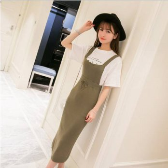 [globalbuy] 4 Colors Size S-M Women Casual Mid-Calf Length Overalls Lady Knitted Skirts Su/4197993
