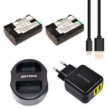 [globalbuy] 2Pcs LP-E6 LPE6 LP E6 Battery& Dual USB Charger + EU/USA AC Adapter for Canon /3688403