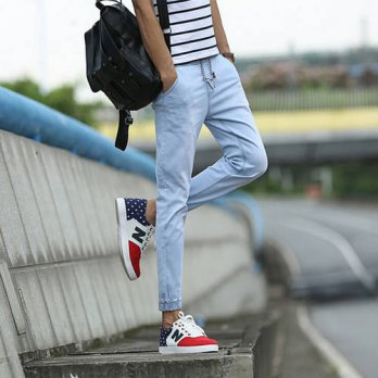 [globalbuy] 2016 Fashion Denim Joggers Jeans Men Elastic Waist Jeans Man Casual Cotton Sli/4203583