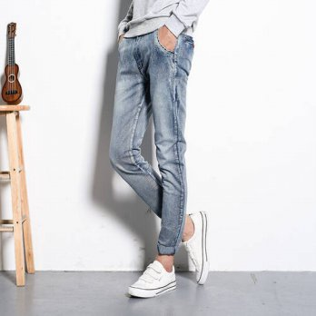 [globalbuy] Mens Skinny Biker Jeans 2016 Men Rider Denim Jeans Motorcycle Runway Slim Fit /4203566