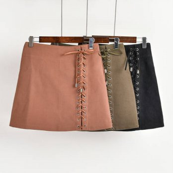 [globalbuy] 2016 fashion Autumn winter vintage womens suede skirt high waist slim lace up /4197925