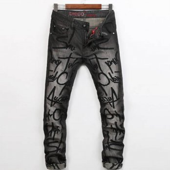 [globalbuy] European Sytle Fall Summer Mens Ripped Embroidery Black Denim Trousers , Sprin/4203559