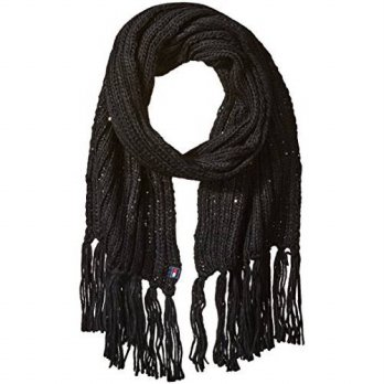 [macyskorea] Tommy Hilfiger Womens Chunky Beaded Scarf, Black, One Size/13705604