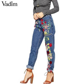 [globalbuy] Women sweet floral embroidery denim jeans plus size pockets full length pants /4197676