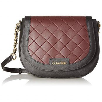 [macyskorea] Calvin Klein Key Items Saffiano Saddle Bag, Blk/Rum Raisin Quilt/15185249