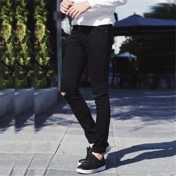 [globalbuy] New Fashion Mens Ripped Designer Black Slim Fit Jeans With Holes On Knee Skinn/4203348