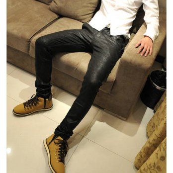 [globalbuy] 2016 new spring Autumn Mens coating Leather Pants Slim Fit Faux Leather Skinny/4203332