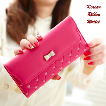 Korean Ribbon Wallet DARKPINK (Dompet banyak sekat, Korean style)