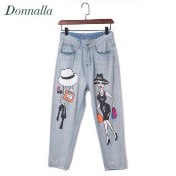 [globalbuy] Cartoon Print Jeans For Women 5XL Plus Size Denim Pants Painted Trousers Fashi/4197557
