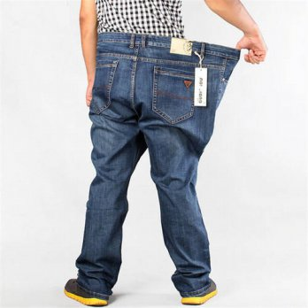 [globalbuy] New Fashion Men Jeans High Waist Elastic Famous Brand Cotton Denim Pants Plus /4203320