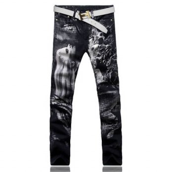 [globalbuy] Mens fashion long hair beauty print jeans Male colored drawing painted slim de/4203235