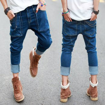 [globalbuy] Summer New Mens Hip Hop Jeans Vintage Washed Pockets Drop Crotch Roll Up Harem/4203234