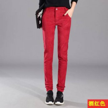 [globalbuy] Fall new corduroy pants female casual pants to increase code bars Trousers tro/4197462