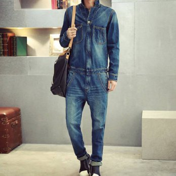 [globalbuy] Mens full sleeve denim overalls Casual long length jeans Jumpsuits/4203171