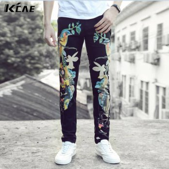 [globalbuy] New Mens Black Jeans Slim Mens Denim Trousers Represent Pants Male Designer Je/4203178