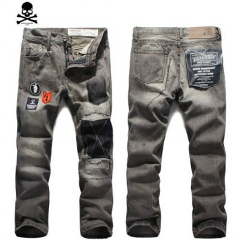 [globalbuy] mens autumn and winter clothing patch straight pants male long denim jeans tro/4203168