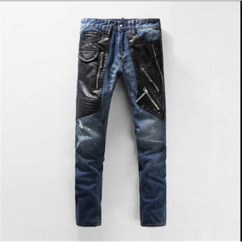 [globalbuy] 2016 Zipper Motorcycle Biker Runway Stretchy Mens Jeans Washed Blue Denim Slim/4203166