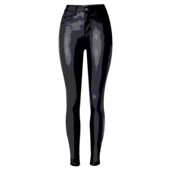 [globalbuy] Vintage PU Leather Pants For Women European Star Women Leggings Capris Designe/4197440