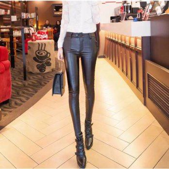 [globalbuy] Winter Warm Leather Pants Women Pantalones Mujer Casual Black Capris high wais/4197421