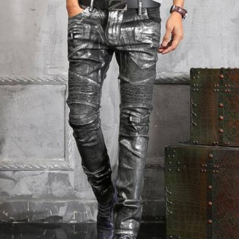 [globalbuy] Top Quality Autumn New Fashion Mens Punk slim leather pants Slim Fit long mid /4203127