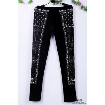 [globalbuy] 2016 Autumn And Winter Black Pants Luxury Velvet Handmade Beading Stones Fashi/4197406