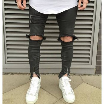 [globalbuy] 2016 NEW high quality fashion casual men jeans Big hole in knee pants thigh an/4203109