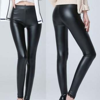 [globalbuy] 2016 Thicken Winter PU Leather women pants high waist add cashmere elastic str/4197435