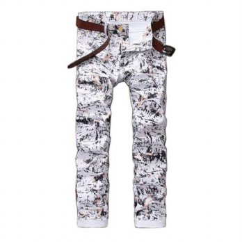 [globalbuy] 3437 Slim Mens printed jeans Skinny White designer jeans men Stretch Denim bik/4203145