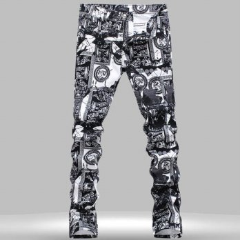 [globalbuy] Fall Winter Fashion European Style Mens Black With White Printed Pattern Jeans/4203134