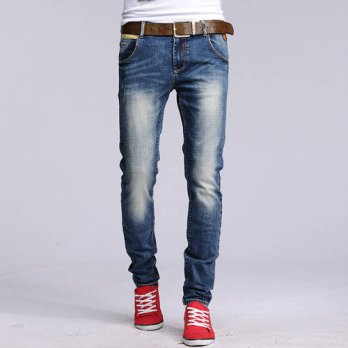 [globalbuy] 2016 New Top Quality Balm Blue Washed Retro Ripped Jeans Men Holes Distressed /4203129