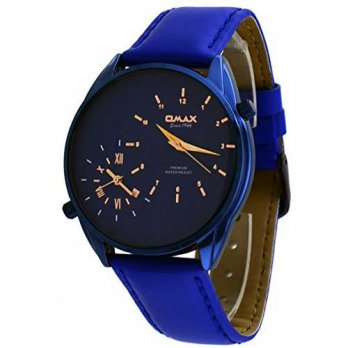 [macyskorea] OMAX Omax S002S441 Mens Blue IP Leather Band Dual Time Zone Watch/15779569