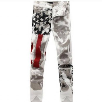 [globalbuy] 2016 new arrive fashion men straight design thin print jeans autumn spring ame/4203123