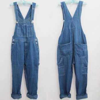 [globalbuy] Men`s Loose Plus Size Denim Bib Overalls Men Multi Pockets Washed Vintage Over/4203096