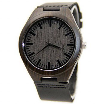 [macyskorea] FunkyTop Mens Wooden Watch Black Sandalwood Analog Quartz with Genuine Leathe/15779501