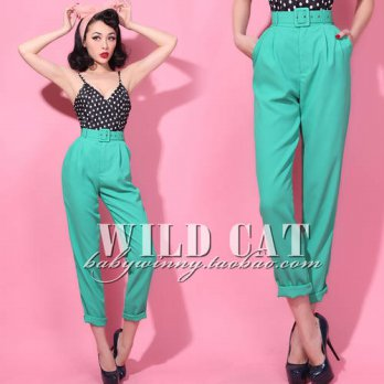 [globalbuy] Spring New Arrival Vintage Classic Casual High Waist Loose Long Pants With Bel/4197371