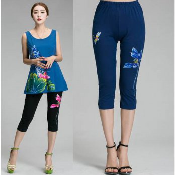 [globalbuy] 2016Women Plus size China style lotus hand painted pants national wind high Wa/4197361