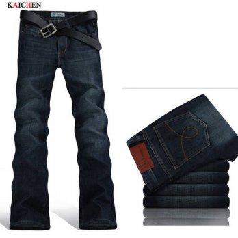 [globalbuy] High Quality Mens Summer Boot Cut Jeans Male Mid Waist Business wash Denim Pan/4203100