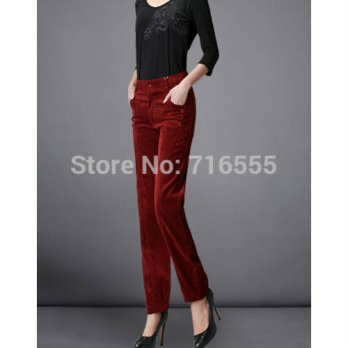 [globalbuy] auutmn spring winter corduroy causal high waist casual women pants full length/4197373
