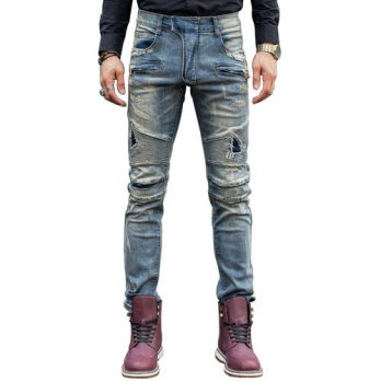 [globalbuy] Fashion skinny jeans men ripped jeans for men Hole jean Slim pantalones leisur/4203065