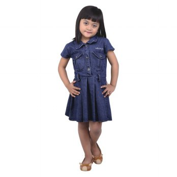 Catenzo Junior Baju Dress Anak Perempuan CDFx110 Navy Blue