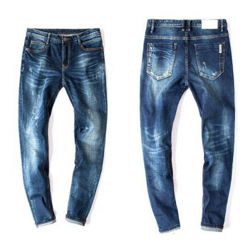 [globalbuy] Fashion Style Men Straight Slim Fit Biker Jeans Pant Denim Trousers Jeans Men /4202992